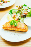Salmon steak. Salmon meat fillet steak with vegetable salad in white plate Stock Photography