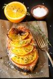 Salmon steak with orange and thyme Royalty Free Stock Photo