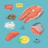 Salmon Steak peixes do bife Marisco orgânico fresco Ilustração do vetor Grupo de produtos do marisco com bife salmon Fotos de Stock