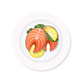 Salmon steak on a plate. Salmon steak with lemon on a white plate. Top view stock vector dish on white background Stock Photography