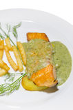 Salmon steak on plate Royalty Free Stock Images