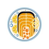 Salmon steak on plate with slices of lemon, pepper and red caviar. Seafood theme. Delicious dish for dinner. Flat vector. Abstract illustration of salmon steak Stock Images