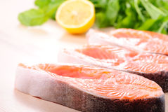 Salmon steak raw Royalty Free Stock Images