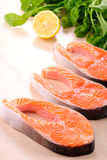 Salmon steak raw Stock Photo