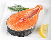 Salmon steak - Raw fish Royalty Free Stock Photography