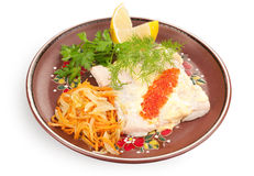Salmon steak with red caviar Stock Images