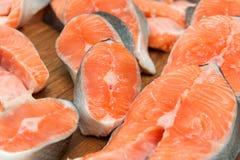 Salmon steak red fish close up royalty free stock image