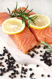 Salmon steak red fish Royalty Free Stock Images