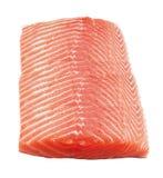 Salmon steak red fish on white Stock Photos