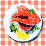 Salmon steak red fish on white plate. Salmon steak red fish with lemon and parsley on white plate Stock Photo