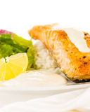 Salmon steak with rice Royalty Free Stock Image