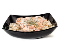 Salmon Steak With Rice Royalty Free Stock Photo