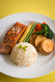 Salmon steak with rice Stock Images