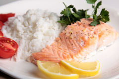Salmon steak with rice Stock Photo