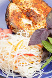 Salmon steak with rice noodles Stock Photography