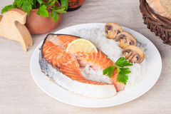 Salmon steak with rice in a still life Royalty Free Stock Photo