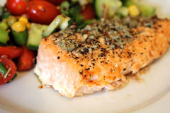Salmon Steak with Salad. Cooked Salmon Steak with Salad, macro Royalty Free Stock Photography