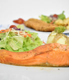 Salmon steak with salads Stock Photography