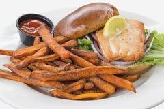 Salmon Steak Sandwich with Sweet Potato Fries Stock Photography