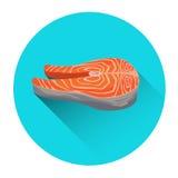 Salmon Steak Seafood Fish Fresh Food Icon. Flat Vector Illustration Stock Photo