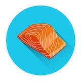 Salmon Steak Seafood Fish Fresh Food Icon Stock Photos