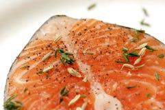 Salmon steak with spices Stock Photo