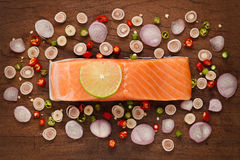 Salmon steak spicy food salad ingredient rustic still life Stock Photos