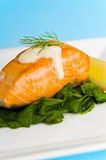 Salmon steak on spinach Royalty Free Stock Image
