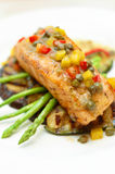 Salmon Steak. Tasty Salmon Steak in a white dish Royalty Free Stock Image