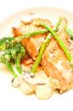 Salmon Steak. Tasty Salmon Steak in a white dish Royalty Free Stock Photo