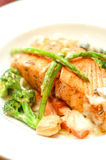 Salmon Steak. Tasty Salmon Steak in a white dish Stock Photography