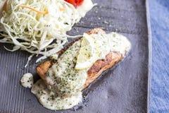 Salmon Steak tepanyaki. With detail Royalty Free Stock Images