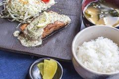 Salmon Steak tepanyaki. With detail Royalty Free Stock Image