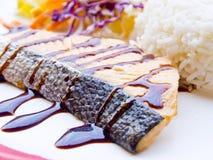 Salmon steak teriyaki sauce Stock Images