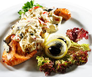 Salmon Steak Under Vegetables Royalty Free Stock Photography