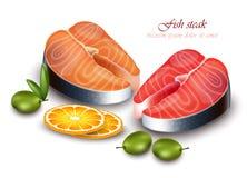 Salmon steak Vector realistic. Detailed fish meat illustrations. Salmon steak Vector realistic. Detailed fish meat illustration Royalty Free Stock Photo