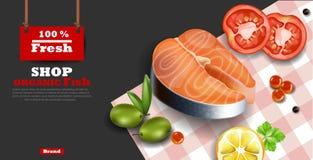 Salmon steak Vector realistic. Organic fish meat dark background. 3d illustrations. Salmon steak Vector realistic. Organic fish meat dark background. 3d detailed Stock Photos