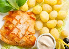 Salmon Steak with Vegetable Royalty Free Stock Images
