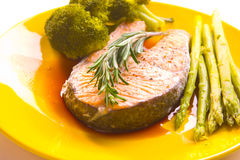 Salmon steak with vegetable Stock Image
