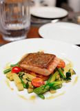 Salmon steak with vegetables. Salmon steak with stir fried vegetables on restaurant table Stock Image