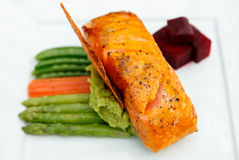 Salmon Steak with  vegetables . Stock Images
