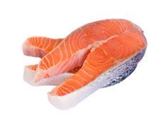 Salmon steaks. Raw salmon steaks isolated on white background Stock Photos