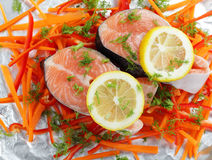 Salmon steaks before cooking Royalty Free Stock Photo