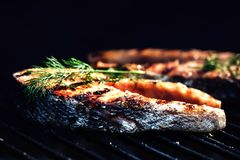 Salmon steaks cooking on barbecue grill. Food background with ba. Salmon steaks cooking on barbecue grill for summer outdoor party. Food background with barbecue Royalty Free Stock Photography