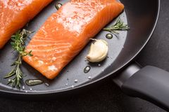 Salmon Steaks Fresh and Raw in Frying Pan stock photography