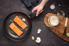 Salmon Steaks Fresh and Raw in Frying Pan stock photos
