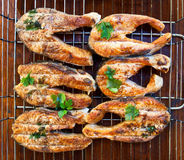Salmon steaks grilled Stock Photo