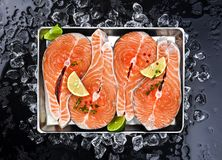 Salmon steaks on ice on black background. Copy space Stock Photo