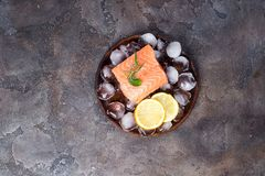 Salmon steaks on ice with lemon slice on wooden plate. Lean proteins. Salmon steaks on ice with lemon slice on wooden plate on a stone dark background. Fish Royalty Free Stock Photos