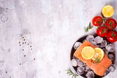 Salmon steaks on ice with lemon slice on wooden plate with tomato. Salmon steaks on ice with lemon slice and tomato on wooden plate on a stone light background Royalty Free Stock Photos